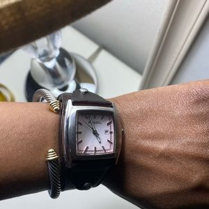 Vintage fossil leather watch with pink dial